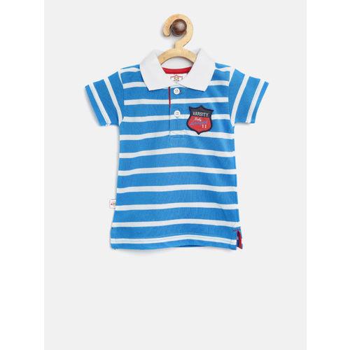 612 league Boys Blue & White Striped Polo Collar T-shirt