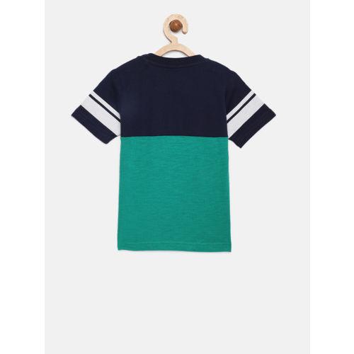 612 League Kids Green & Navy Printed T-Shirt
