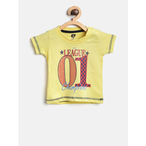 612 league Boys Yellow Printed Round Neck T-shirt