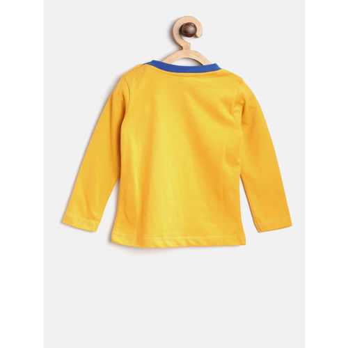 612 league Boys Mustard Yellow Solid Round Neck T-shirt