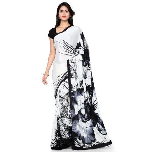 Kvsfab White & Black crepe silk saree
