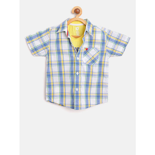 612 league Boys White & Blue Checked Casual Shirt with T-shirt