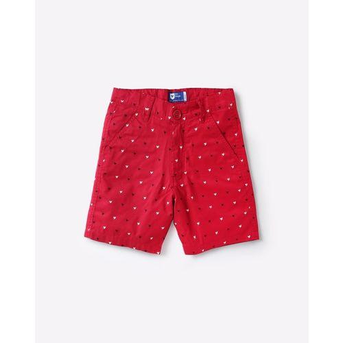 612 league Boys Maroon Printed Regular Fit Shorts