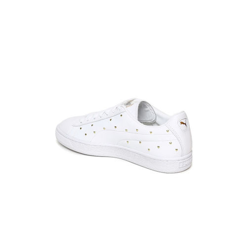 Puma Women White Basket Studs Embellished Sneakers
