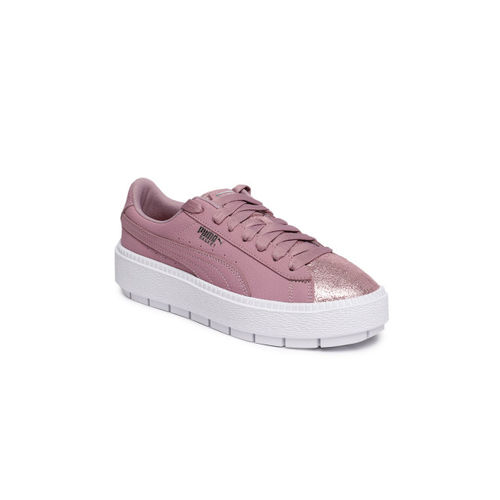 Puma Women Pink & Rose Gold-Toned Platform Trace Bio Hacking Leather Sneakers