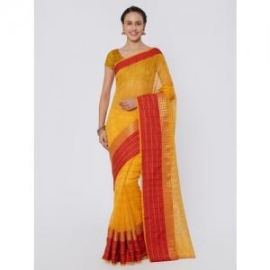 Kvsfab Yellow Cotton Silk Woven Zari Saree