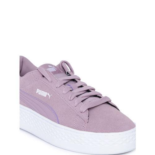 Puma Women Purple Smash Platform Suede Sneakers