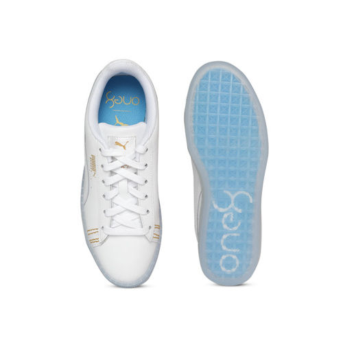 brand new e1465 2b41c Buy Puma Unisex White Basket Classic One8 Leather Sneakers ...