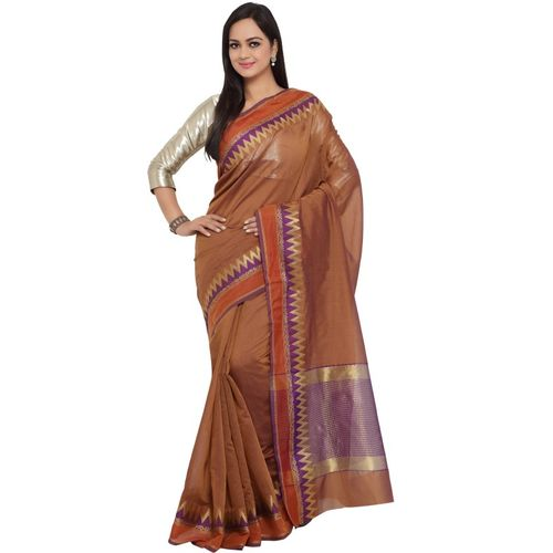 Kvsfab Solid Kanjivaram Silk Cotton Blend Saree(Brown)
