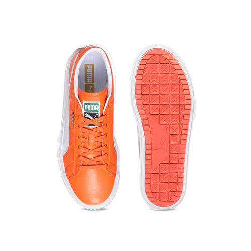 Puma Unisex Orange Leather Sneakers