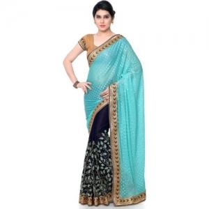 Kvsfab Printed, Embroidered Fashion Lycra Blend, Pure Georgette Saree(Dark Blue, Blue)