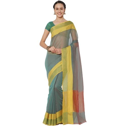Kvsfab Woven Daily Wear Cotton Silk Saree(Green)