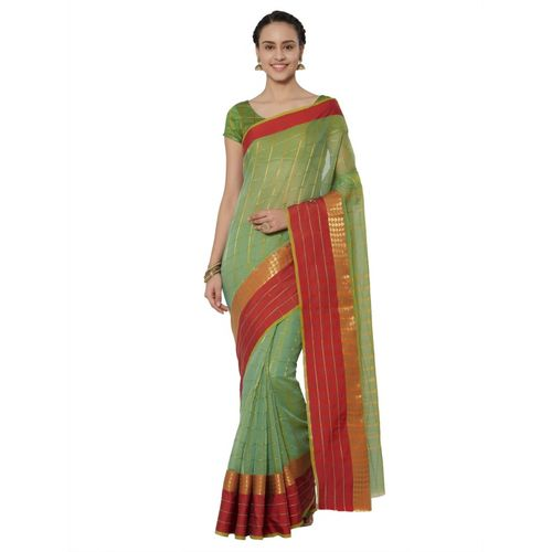 Kvsfab Checkered Daily Wear Cotton Silk Saree(Green, Red)
