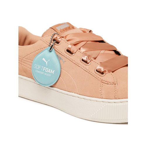 Buy Puma Vikky Platform Ribbon Women's Peach Suede Satin