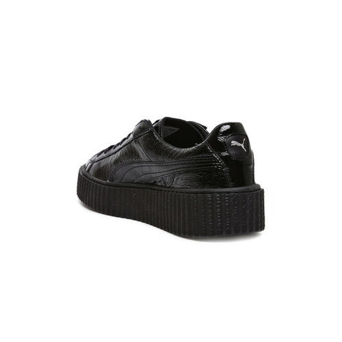 Puma Women Black Fenty Creeper Wrinkled Patent Leather Sneakers