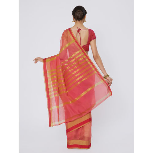Kvsfab Peach-Coloured Woven Design Silk Cotton Saree
