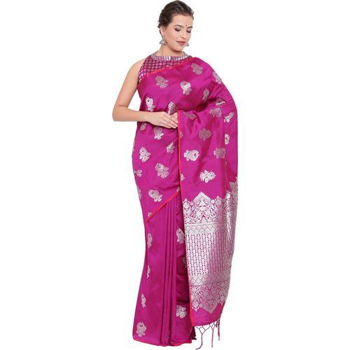 Kvsfab Printed Fashion Poly Silk Saree(Pink)