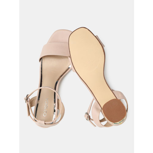 CORSICA Women Pink Solid Heeled Sandals