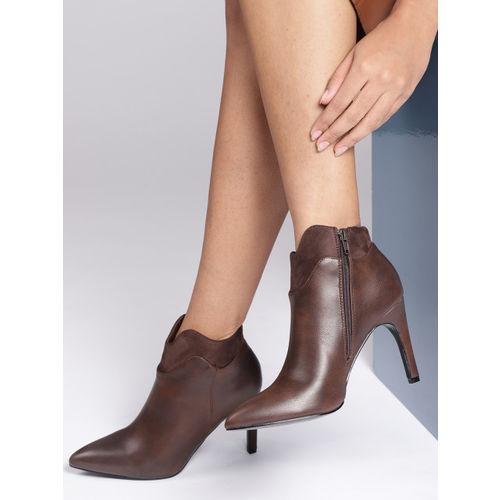 CORSICA Women Coffee Brown Mid-Top Heeled Boots