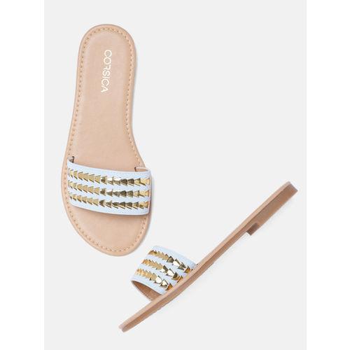 CORSICA Women Blue & Gold-Toned Open Toe Flats