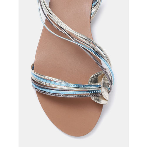 CORSICA Women Gold-Toned & Blue Open Toe Flats