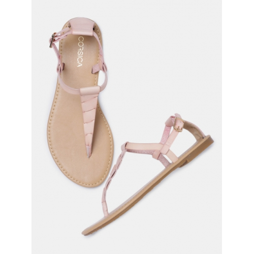 CORSICA Women Skin-Coloured Solid T-Strap Flats