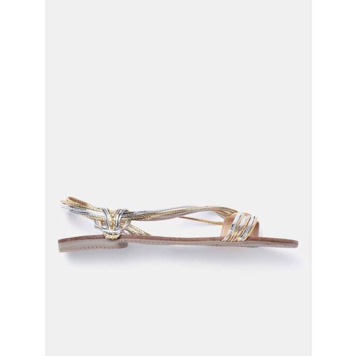CORSICA Women Gold-Toned & Silver-Toned Open Toe Flats