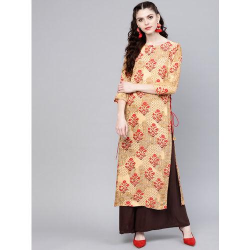 GERUA Women Beige & Red Printed Straight Kurta