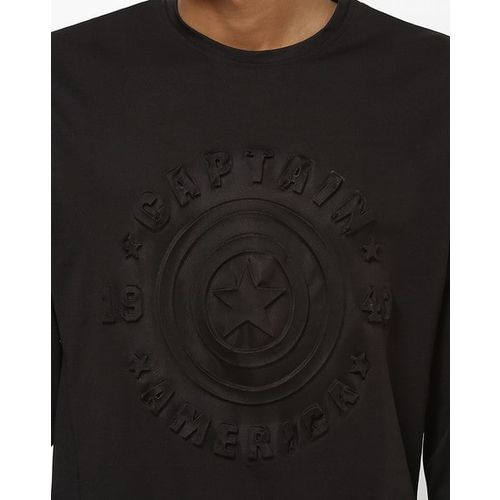 DISNEY Captain America Embossed Crew-Neck T-shirt