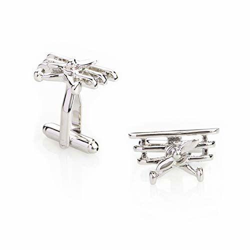 Shining Jewel Elegant Fancy and Designer Silver Plated Cufflinks for Men - Vintage Plane Design (SJ_7123)