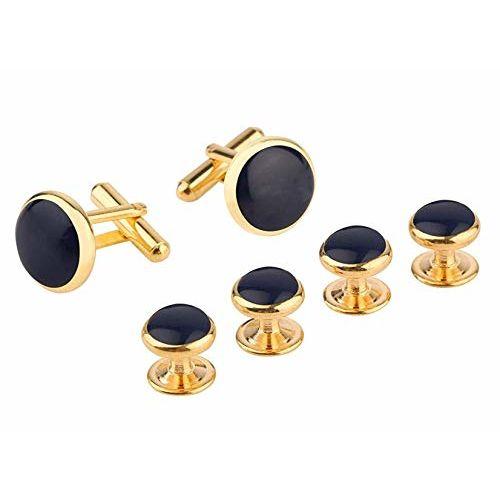 ZIVOM Black Silver Gold Brass Office Formal Shirt Blazer Shirt Tuxedo Button Studs Cufflink Pair Men