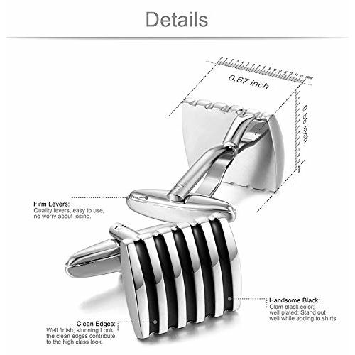 ZIVOM Square Stripes Silver Office Formal Shirt Blazer Cufflink Pair Men Gift Box