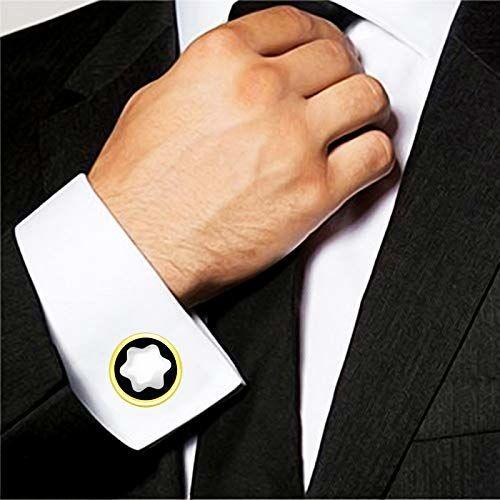 ZIVOM Star Filigree Black Silver Office Formal Shirt Blazer Cufflink Pair Men Gift Box