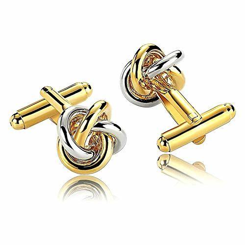 ZIVOM Knot Horse Enamel Gold Rhodium Brass Formal Shirt Blazer Suit Cufflink Combo Set of 4 Pair Men