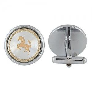 ZIVOM Navy with Gold Horse Round Office Formal Shirt Blazer Cufflink Pair Men Gift Box