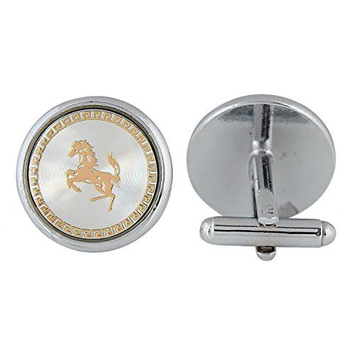 ZIVOM Navy with Gold Horse Round Office Formal Shirt Blazer Cufflink Pair Men Gift Box