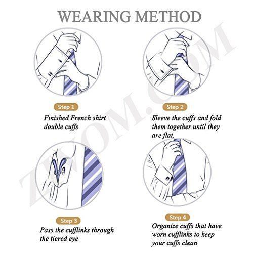 ZIVOM Geometric Angles Enamel Gold Rhodium Brass Formal Shirt Blazer Suit Cufflink Combo Set of 4 Pair Men