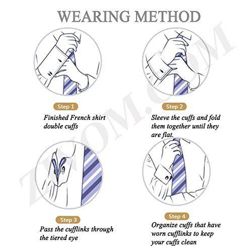 ZIVOM Knot Stripe Enamel Gold Rhodium Brass Formal Shirt Blazer Suit Cufflink Combo Set of 3 Pair Men