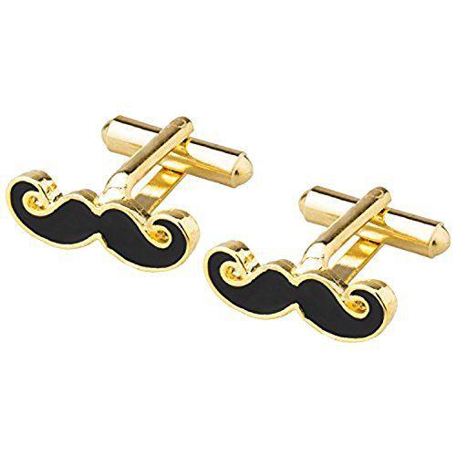 ZIVOM Glossy Moustache Mooch Enamel 18K Gold Office Formal Shirt Blazer Cufflink Pair Men Gift Box