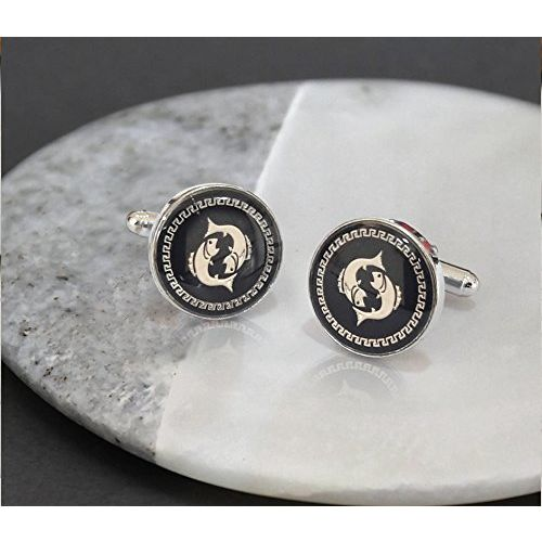 TIED RIBBONS Royal Fish Black Cufflinks for Men | Cufflinks Gift | Cufflinks Set for Men | Cufflinks for Shirt for Friend | Birthday Gifts for Brother