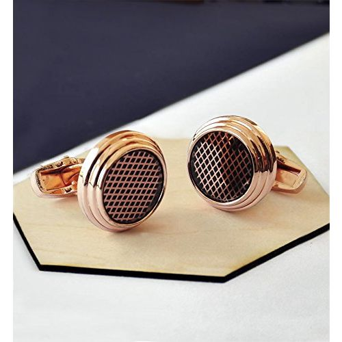 Tied Ribbons Golden Round Cufflinks for Men in A Gift Box