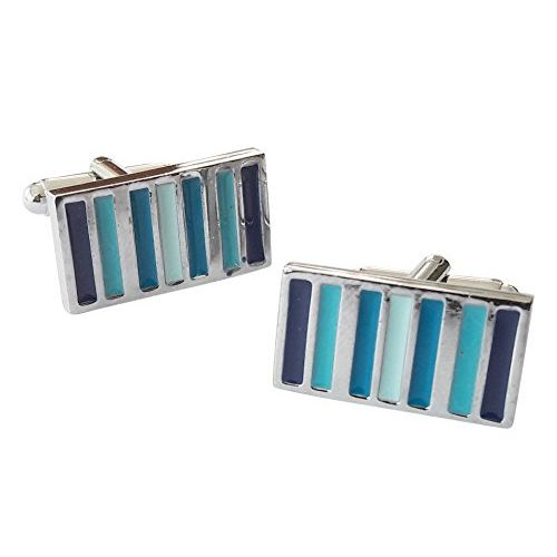 TIED RIBBONS Blue Pattern Silver Men's Cufflinks | Cufflinks for Shirt | Cufflinks Set | Men's Cufflinks Gift Set for Father | Birthday