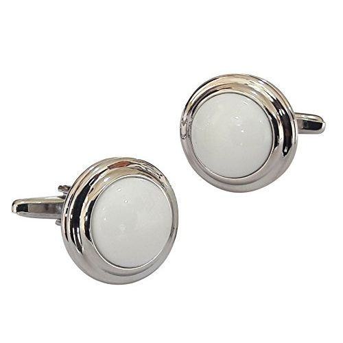 TIED RIBBONS White Stone Silver Shirt Cufflinks for Men | Cufflinks Set for Men | Cufflinks for Shirt | Cufflinks Set for Friend | Birthday Gifts for Friend