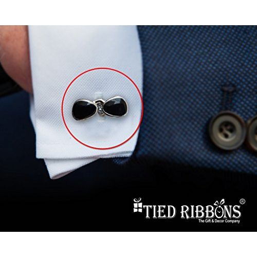 TIED RIBBONS Cufflinks for Men Goggles Shape(Silver)