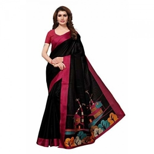 Blissta Black Printed Khadi Silk Saree
