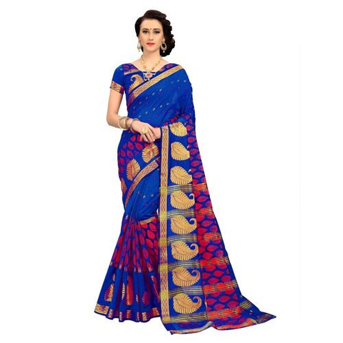 Blissta Woven Daily Wear Cotton Blend Saree(Blue)