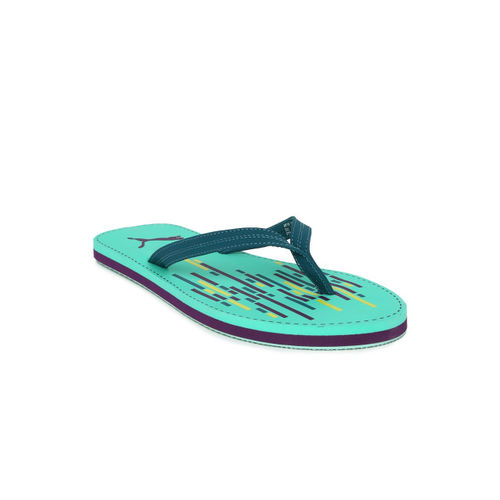 Puma Women Teal Green Solid Thong Flip-Flops
