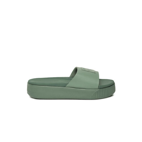 Puma Women Green Solid Sliders