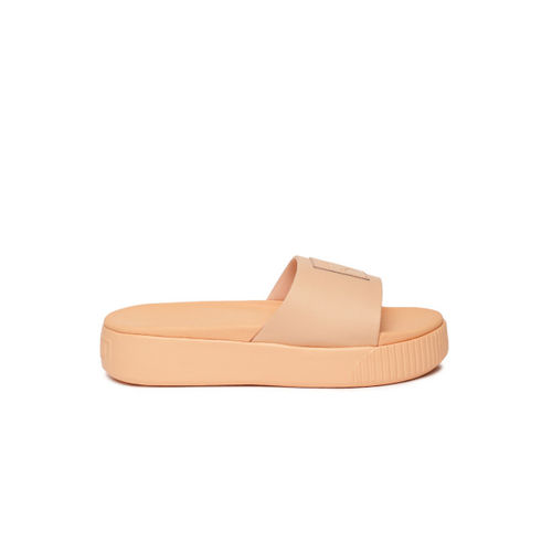 Puma Women Peach-Coloured Platform Slide Wns Solid Sliders