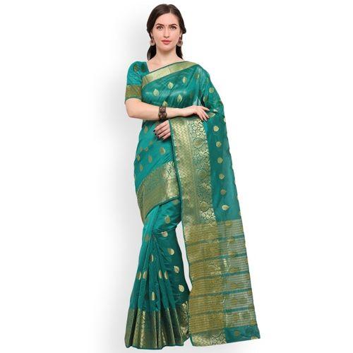 Blissta Women Turquoise Blue & Gold-Toned Silk Blend Woven Design Banarasi Saree